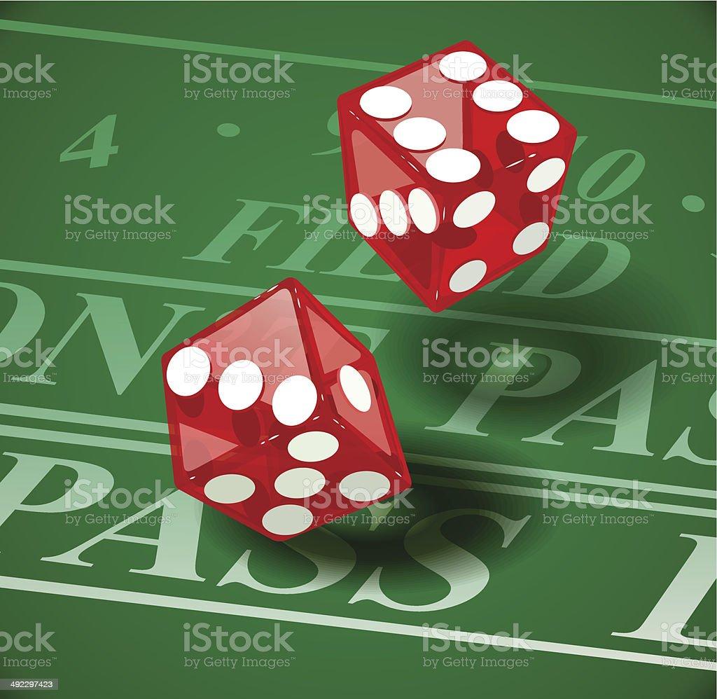 Gra kostka do gry na Kasyno tabeli stockowa ilustracja wektorowa royalty-free