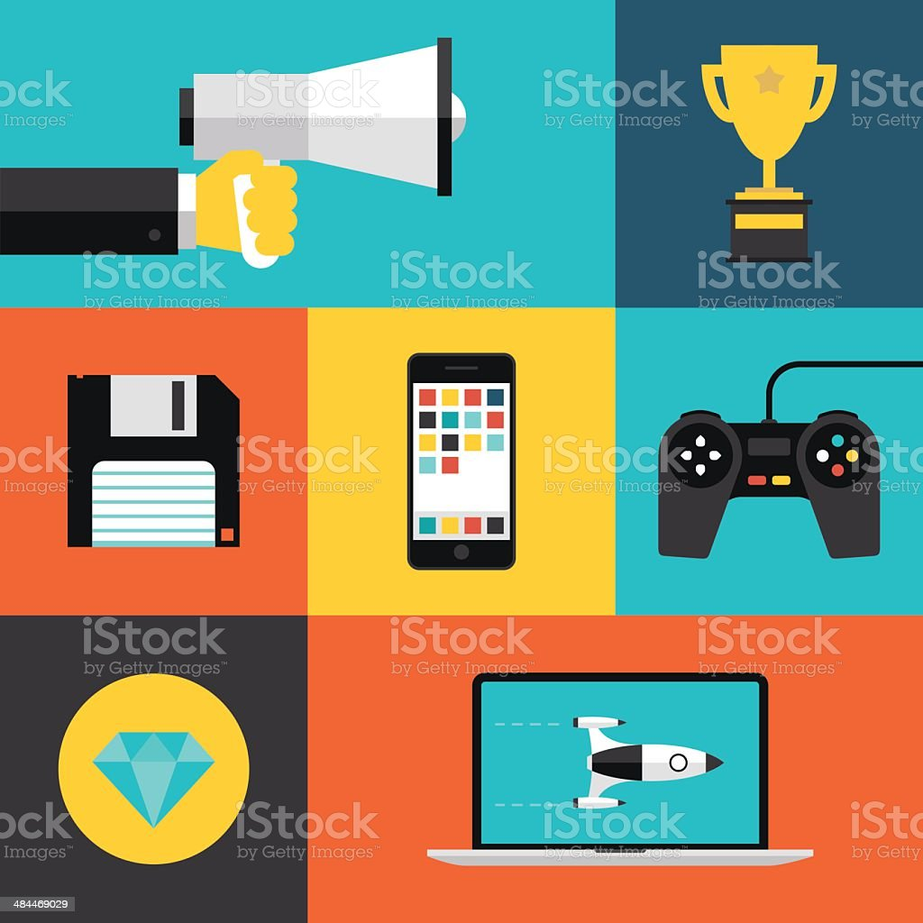 Playing games flat icons set vector art illustration