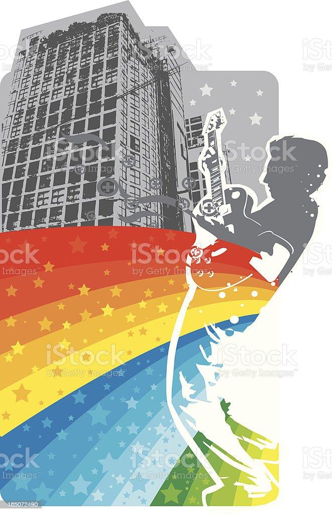 Playing guitar in Urban scene royalty-free stock vector art