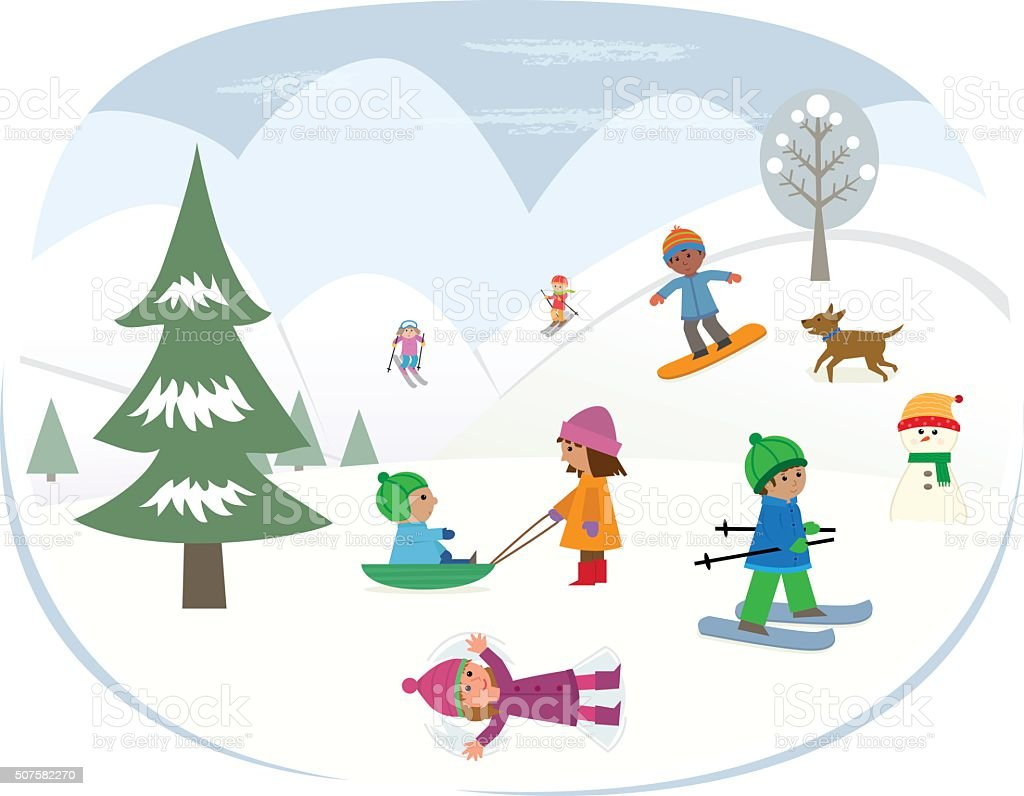Playing In The Snow vector art illustration