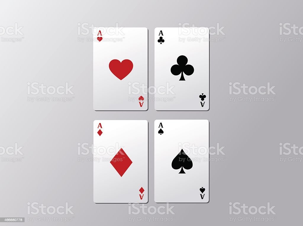 Playing poker cards. Poker aces isolated on gray background. vector art illustration