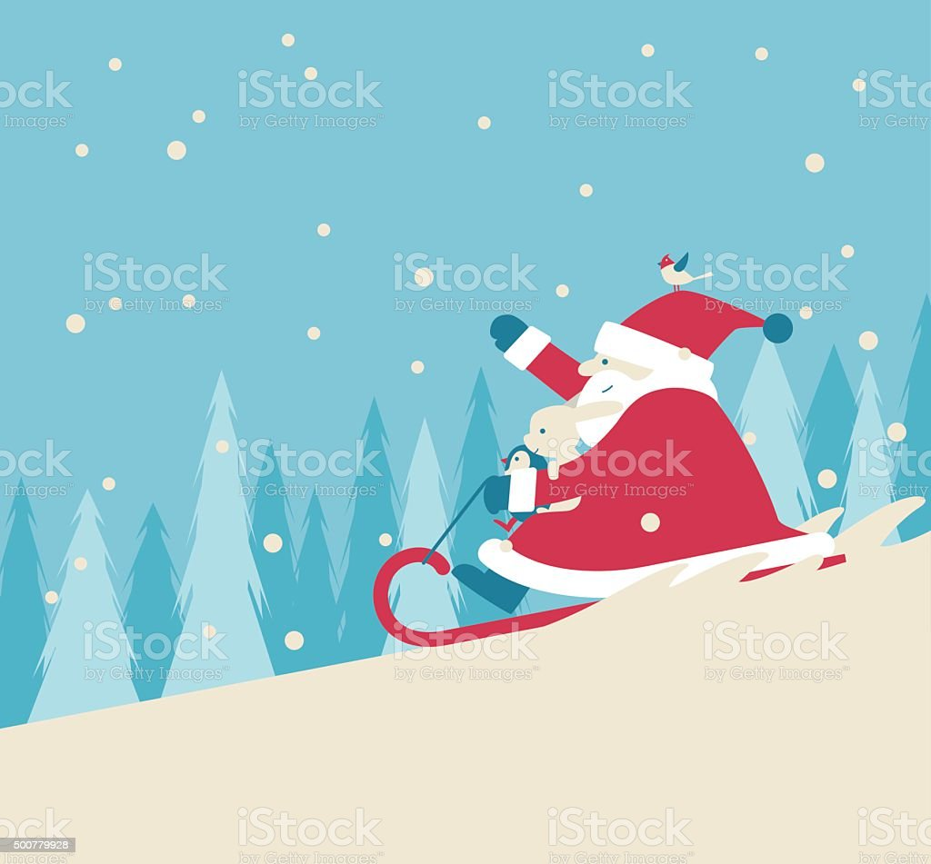 Playing Snow Sled vector art illustration