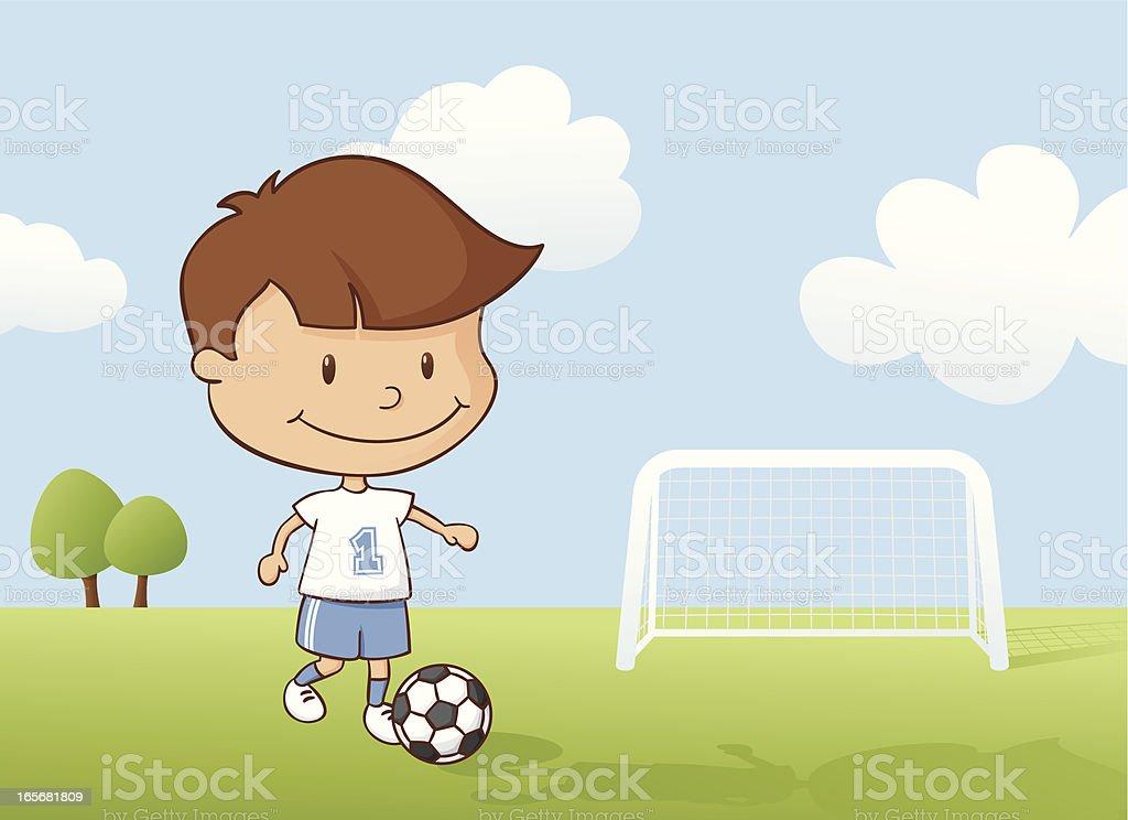 Playing Soccer Boy royalty-free stock vector art