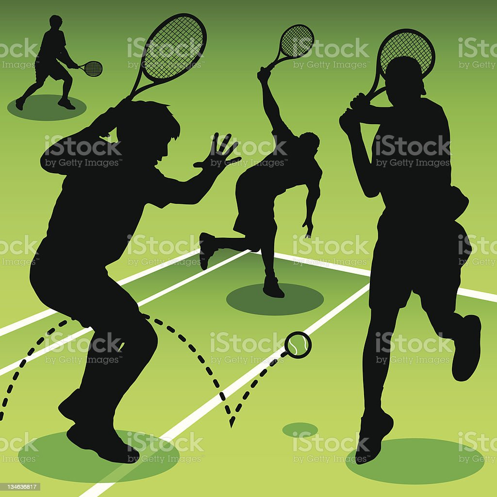 Playing Tennis royalty-free stock vector art