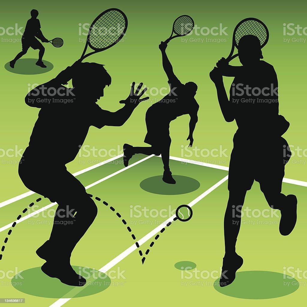 Playing Tennis vector art illustration