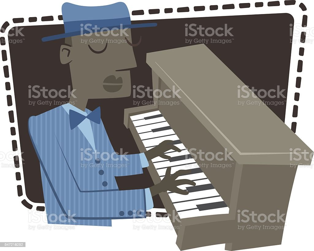 Playing the piano vector art illustration