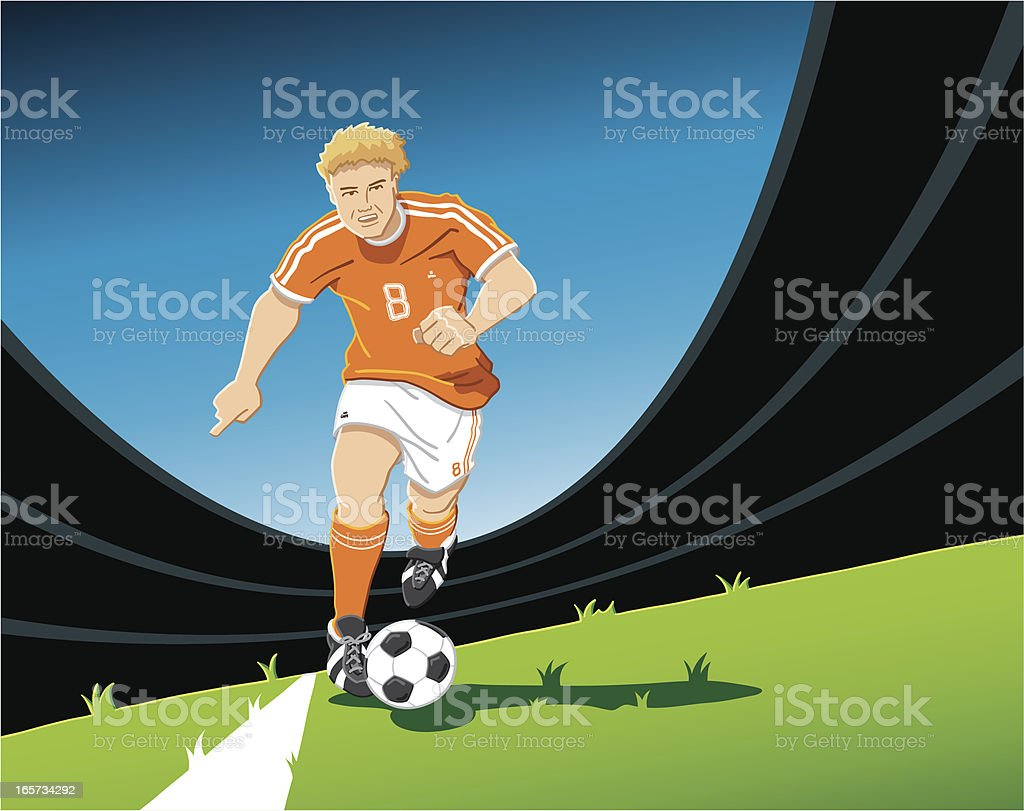 Playmaker Soccer Player Orange royalty-free stock vector art