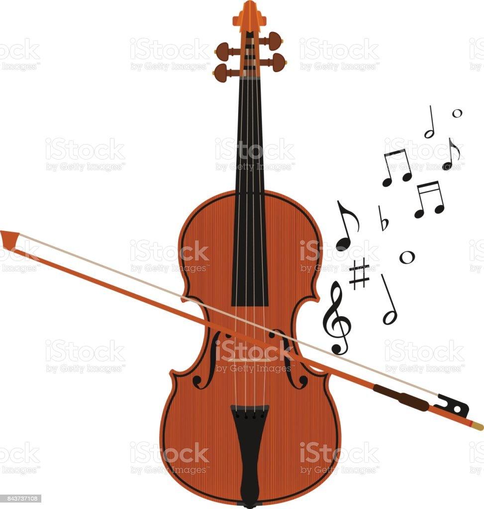 plays violin vector art illustration