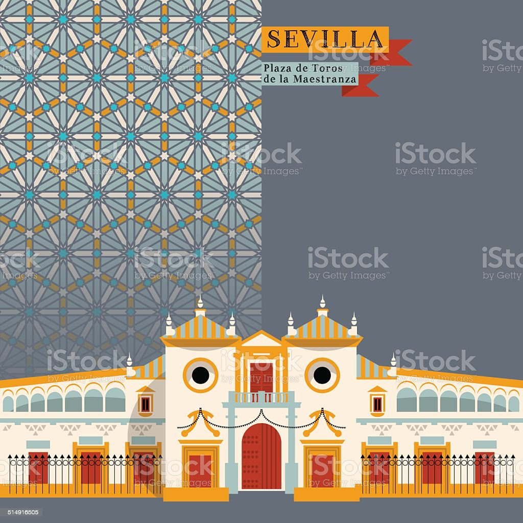 Plaza de Toros de la Maestranza. Seville. Andalusia, Spain, Europe. vector art illustration