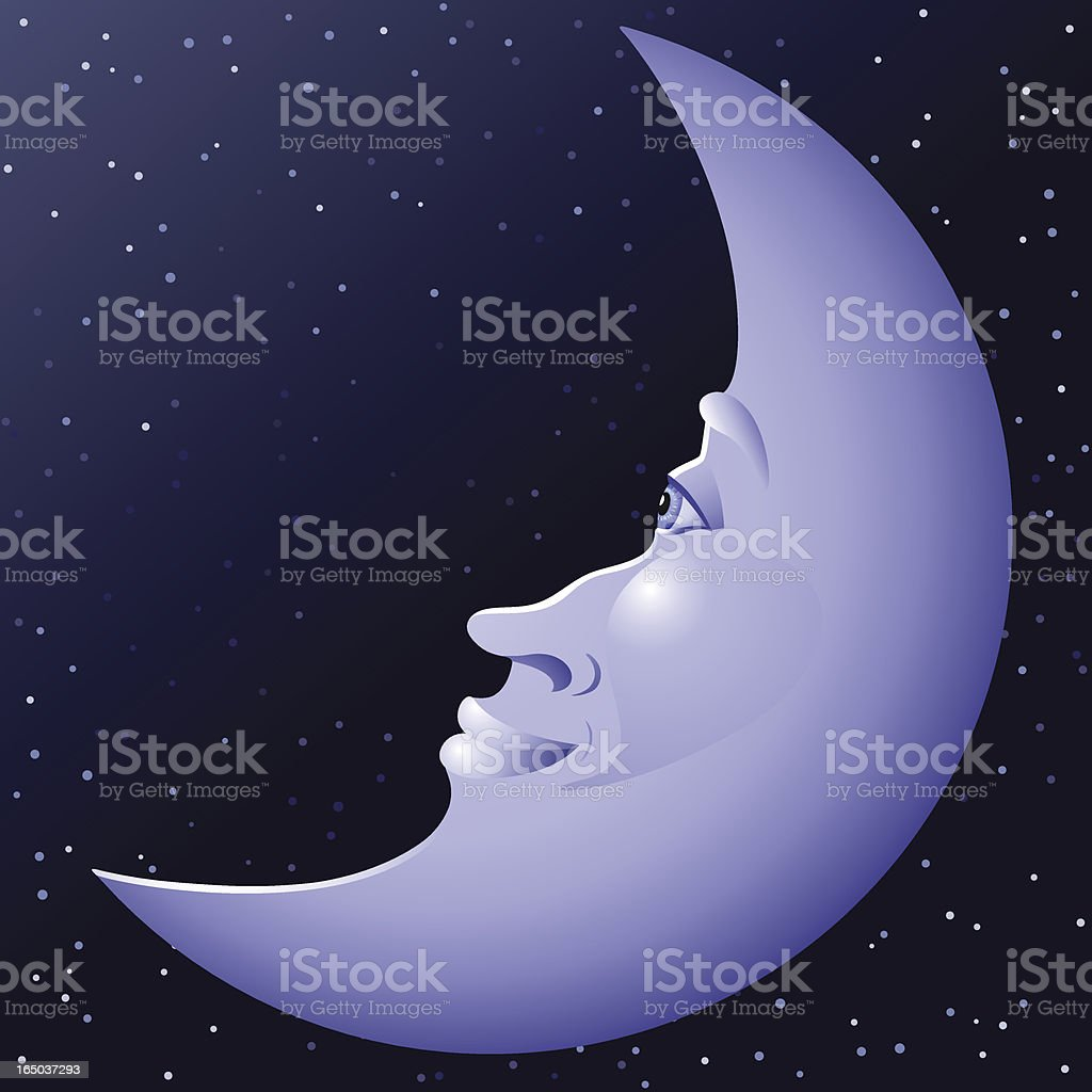 Pleasant Face on the Moon royalty-free stock vector art