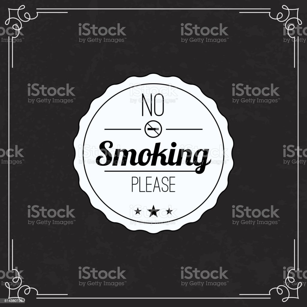 Please no smoking label. vector art illustration
