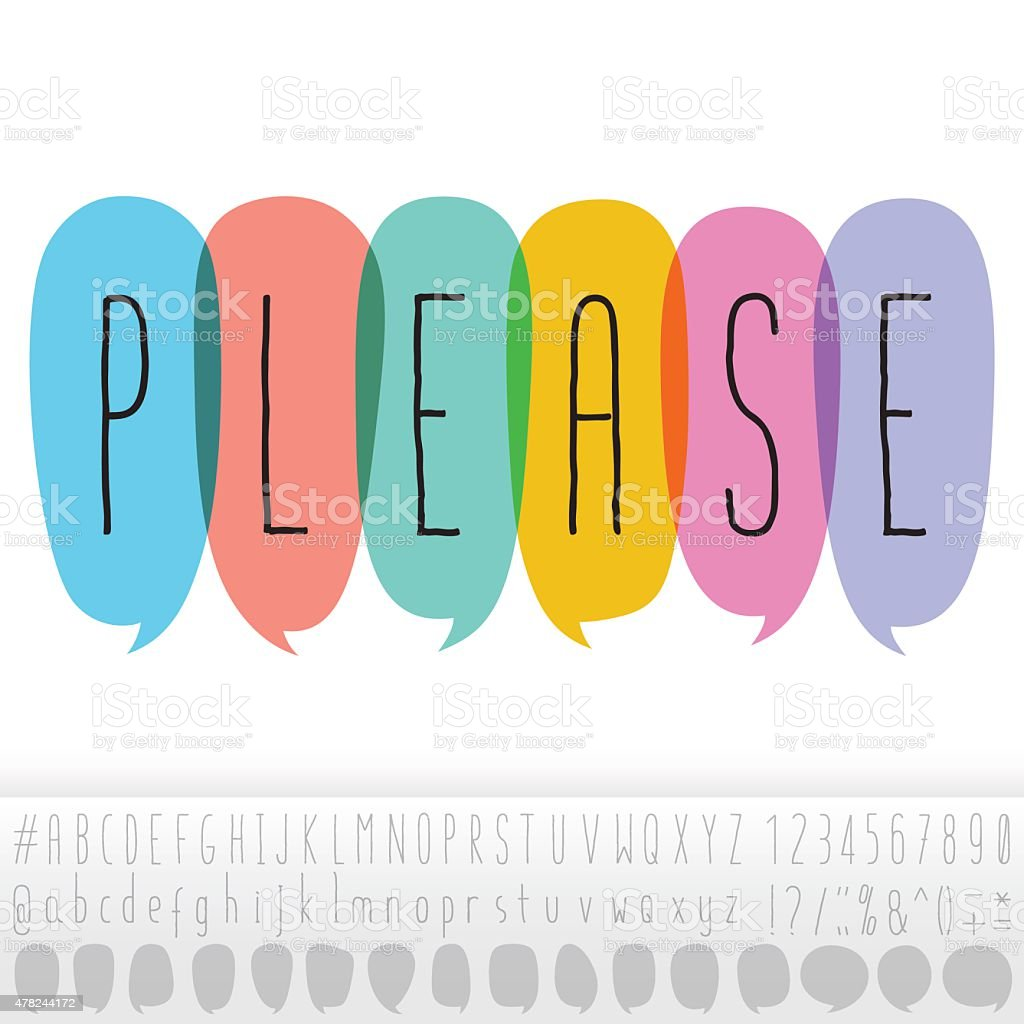 Please Text In Speech Bubbles With Alphabet Design Set vector art illustration