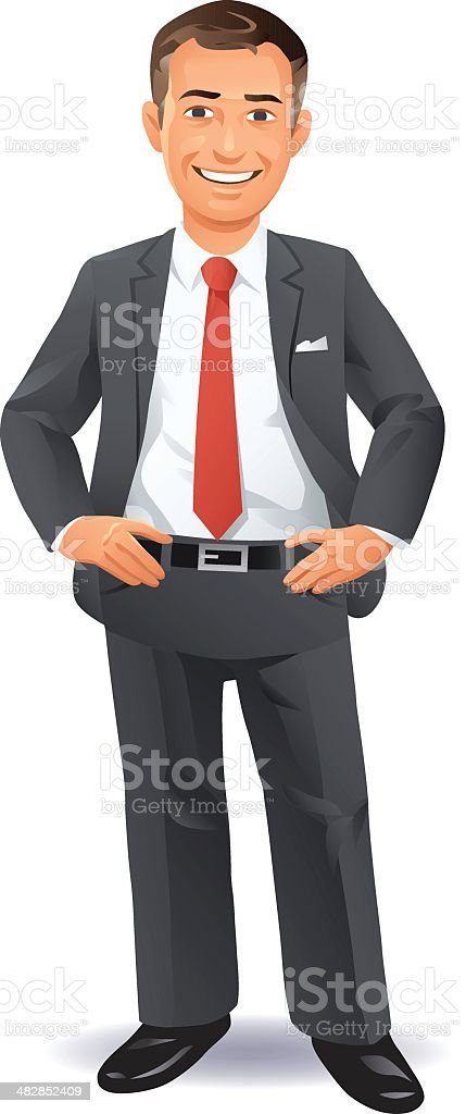 Pleased Businessman vector art illustration