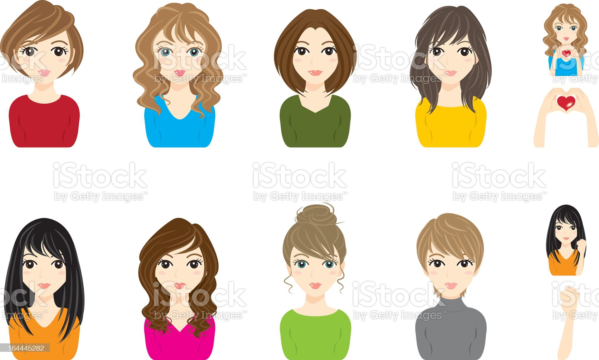 A plethora of women displaying different hairstyles royalty-free stock vector art
