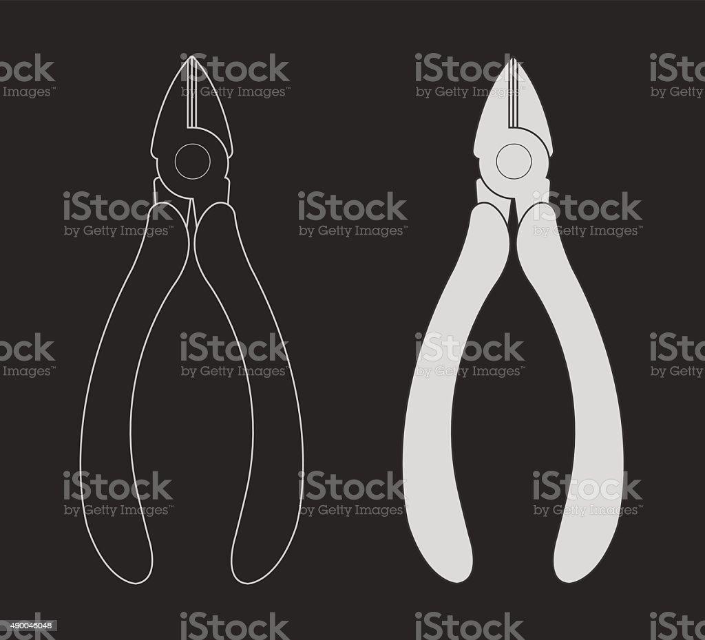 Pliers nippers. Vector clip art chalkboard illustration vector art illustration