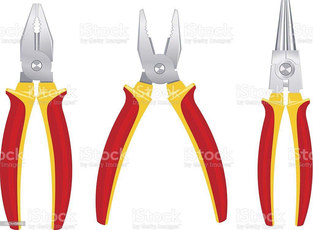 Pliers tools set vector art illustration