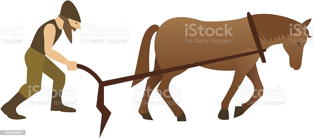 Plowman and horse with plow vector art illustration