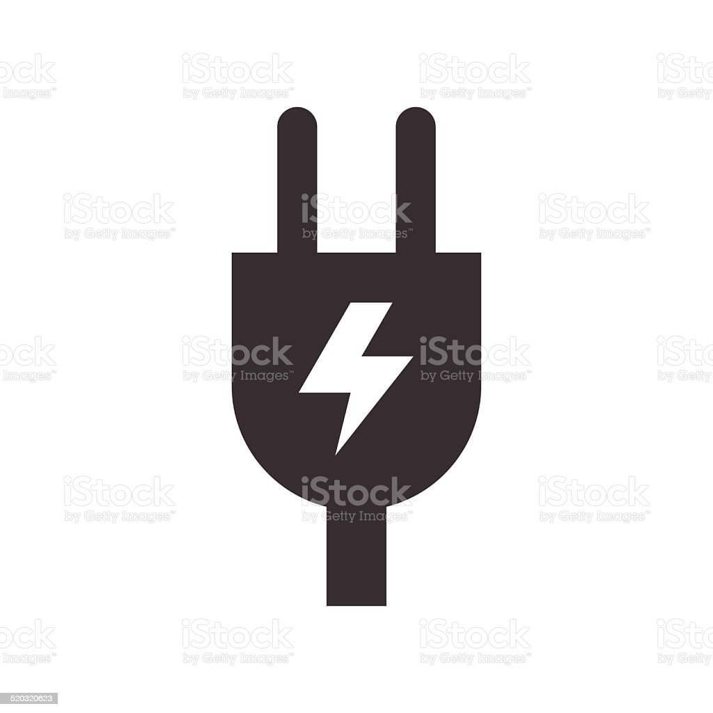 Plug and high voltage sign vector art illustration