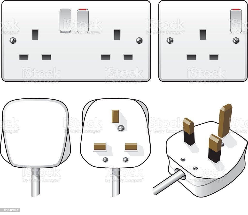 Plug and socket illustration vector art illustration