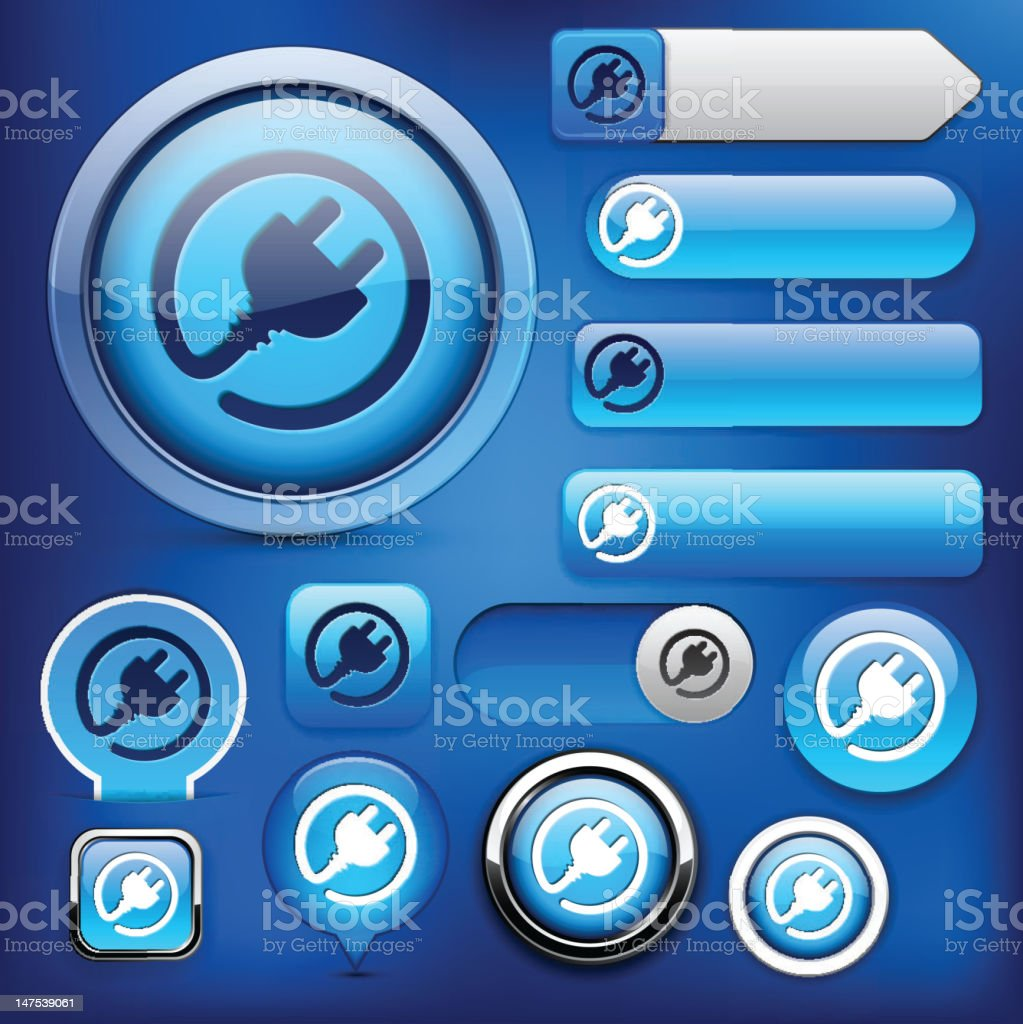 Plug blue high-detailed modern buttons. royalty-free stock vector art