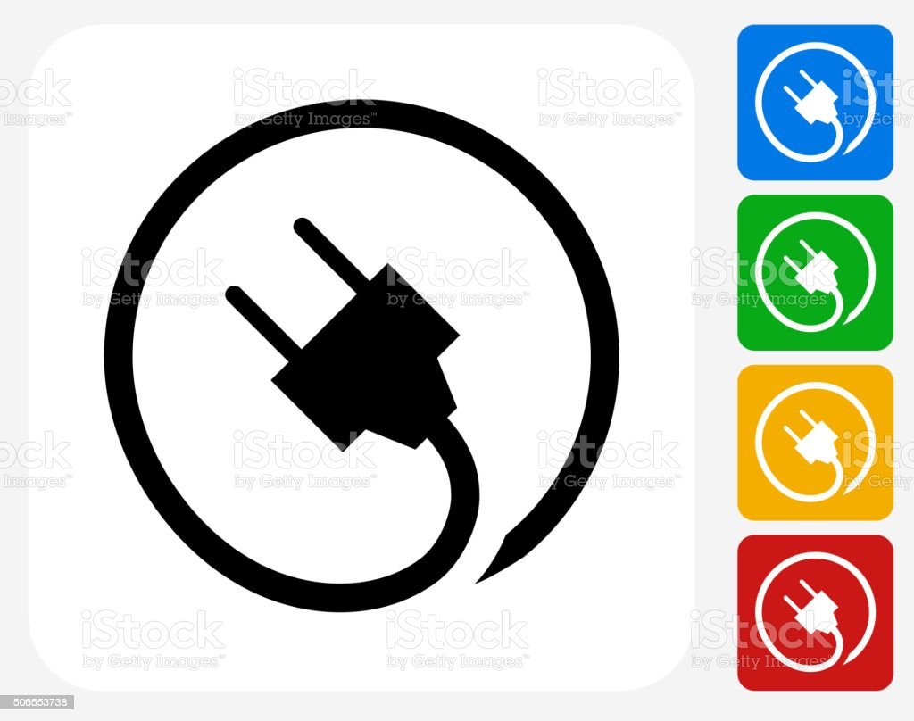 Plug Icon Flat Graphic Design vector art illustration