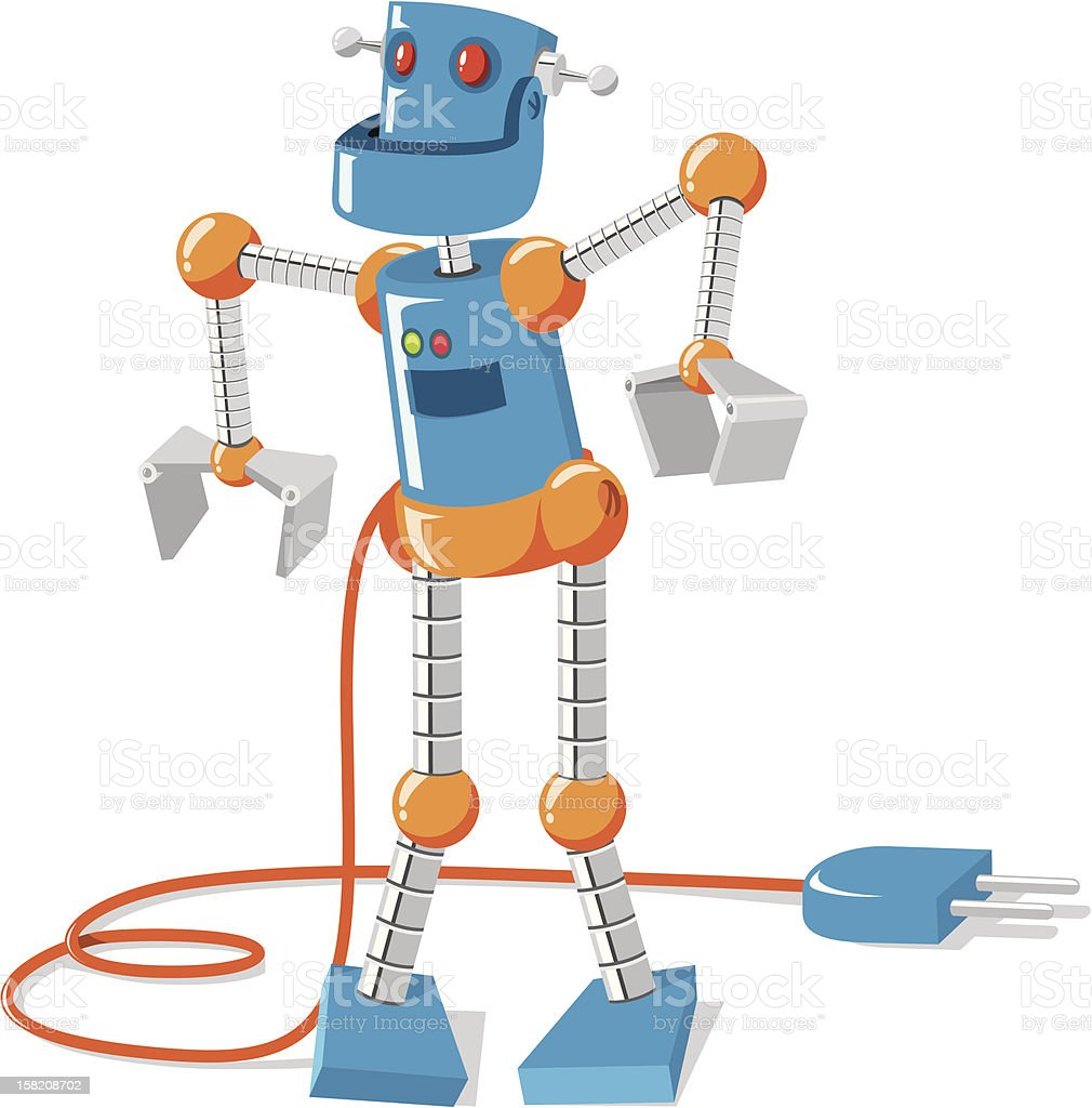 Plug the robot royalty-free stock vector art