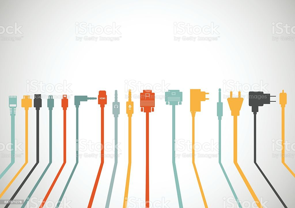 Plug Wire Cable Computer colorful vector illustration vector art illustration