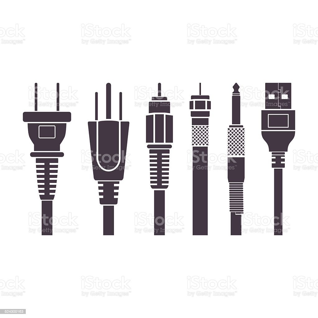 Plugs vector illustration set collection vector art illustration