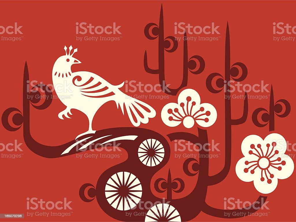 Plum Blossom & Bird Delight royalty-free stock vector art