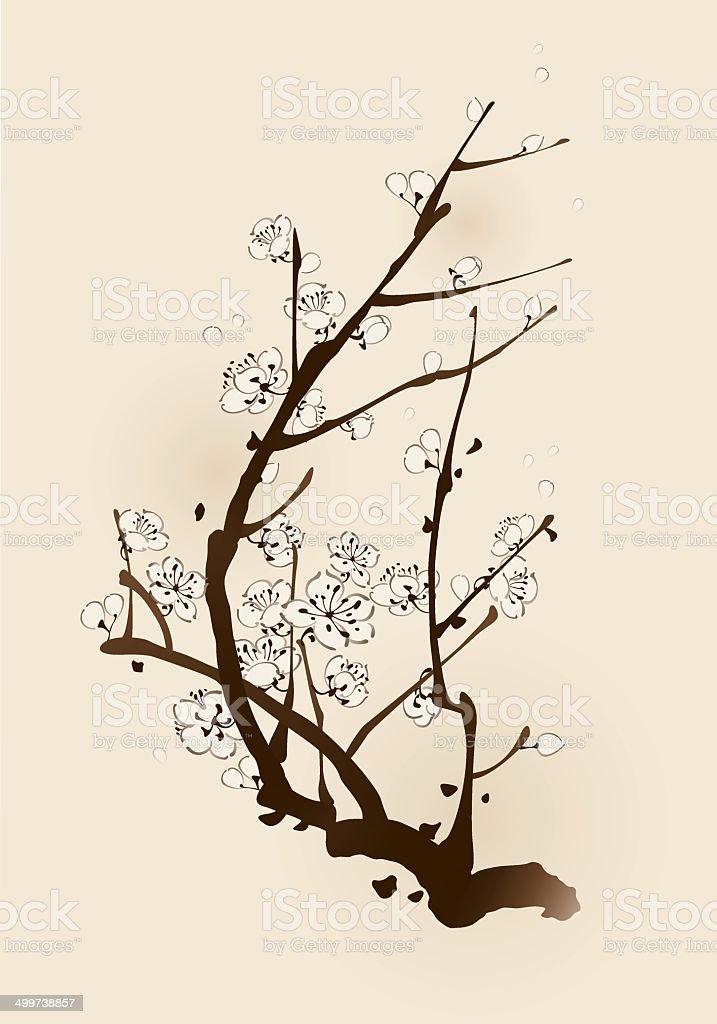 Plum blossom with line design vector art illustration