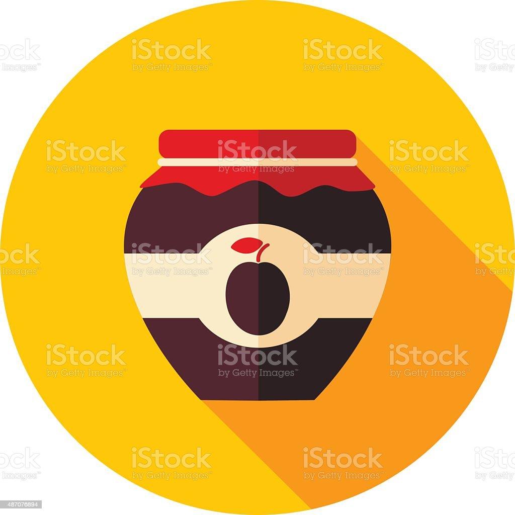 Plum jam jar flat icon with long shadow vector art illustration