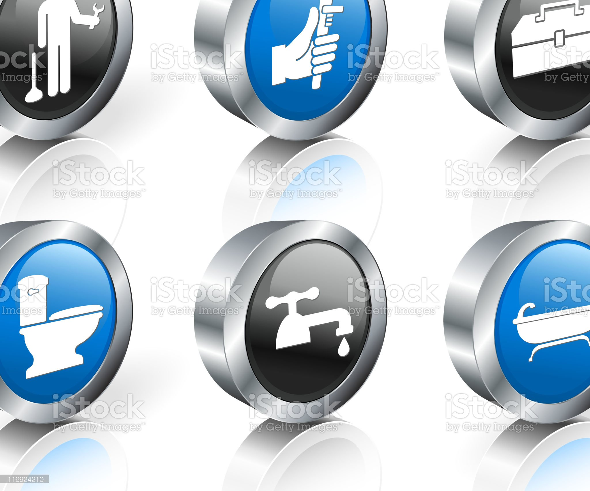 Plumber 3D royalty free vector icon set royalty-free stock vector art