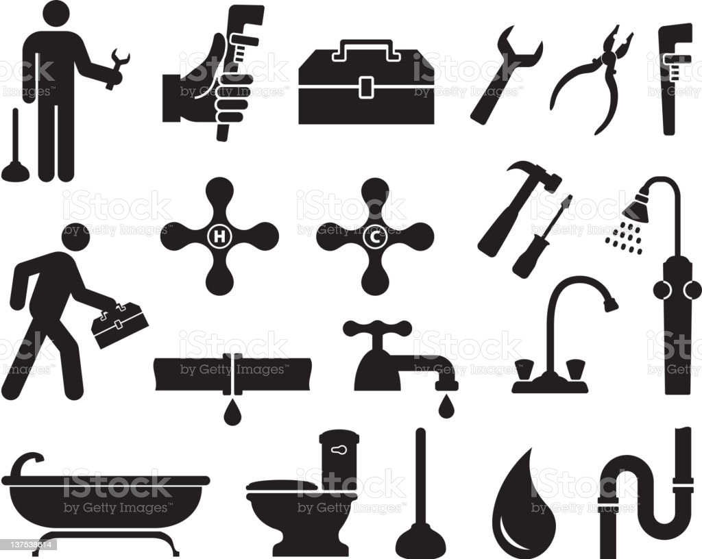 Plumber black and white royalty free vector icon set royalty-free stock photo