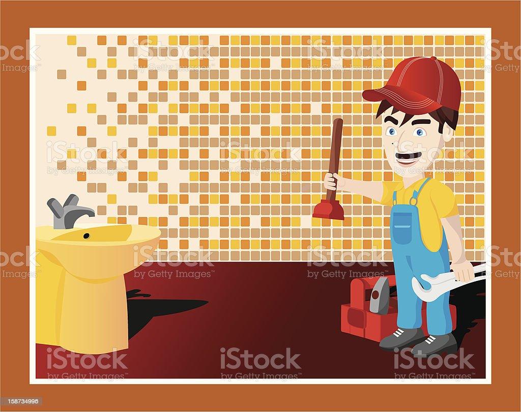 plumber card postal royalty-free stock vector art