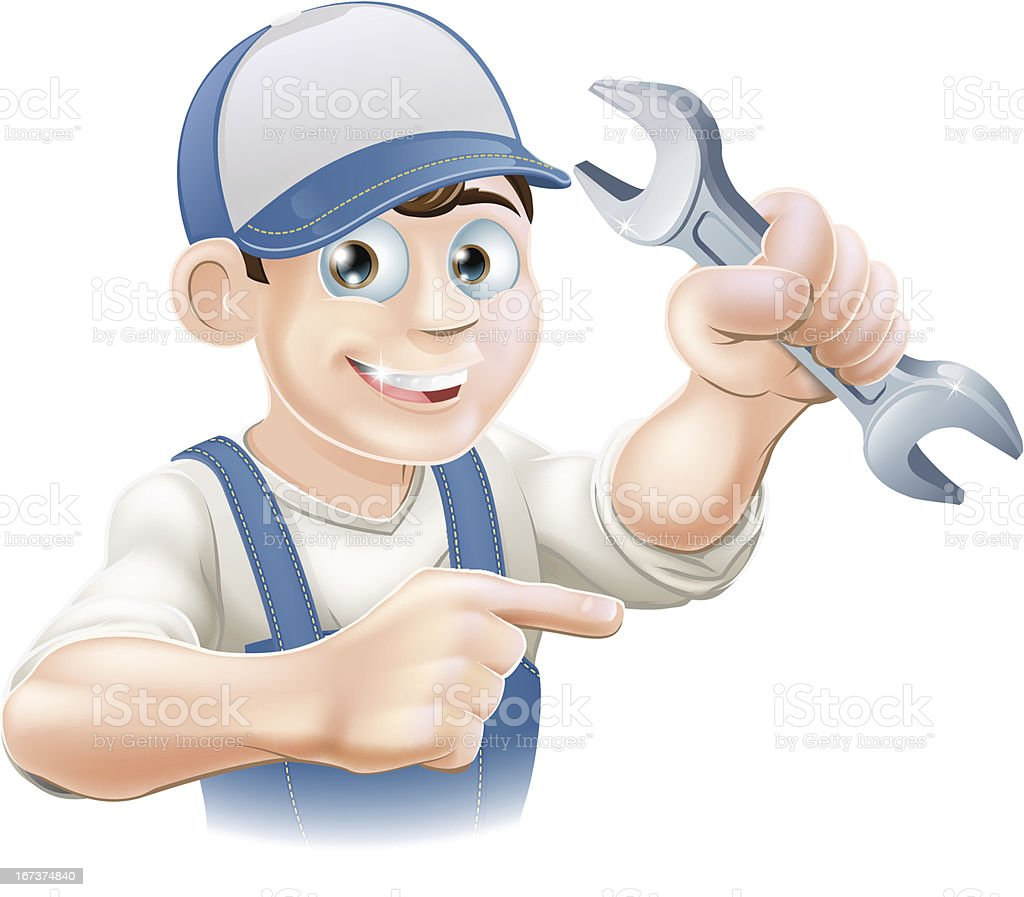 Plumber or mechanic pointing royalty-free stock vector art