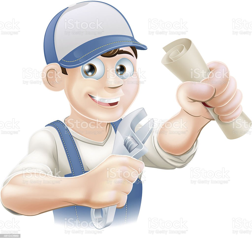 Plumber or mechanic qualification royalty-free stock vector art