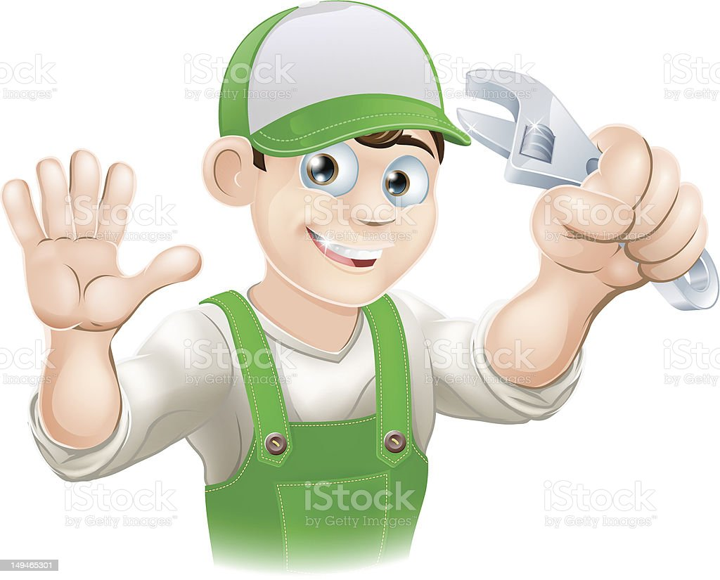 Plumber or mechanic with spanner royalty-free stock vector art
