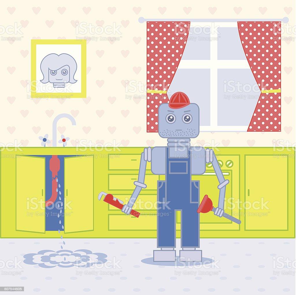 plumber robot1 vector art illustration