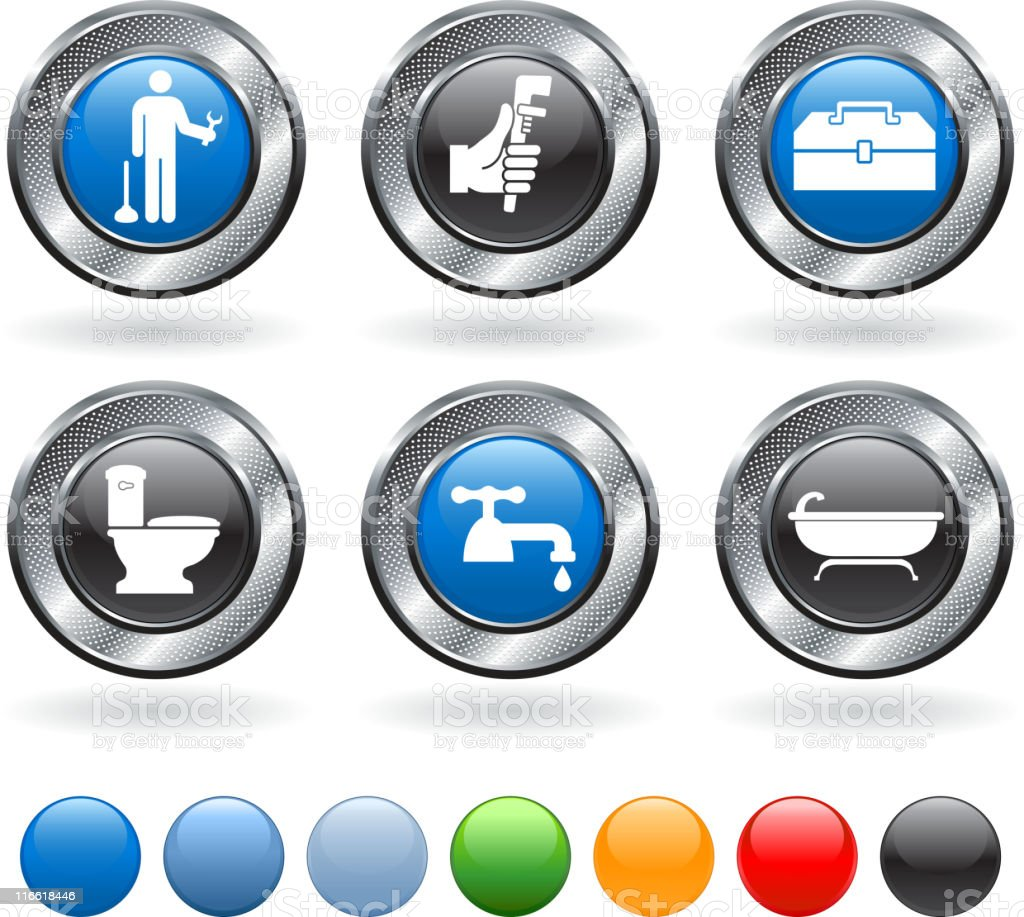 plumber royalty free vector icon set on metallic button royalty-free stock vector art