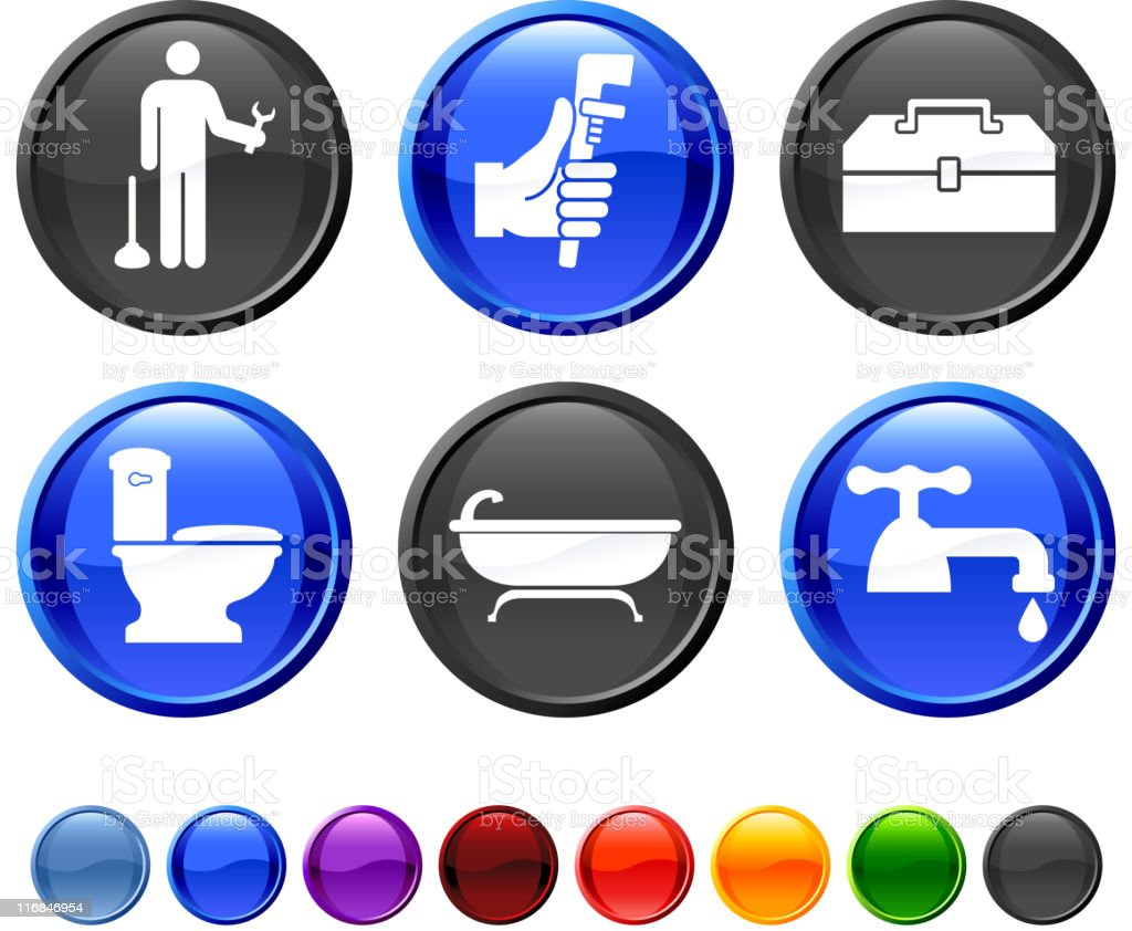 Plumber royalty free vector icon set royalty-free stock vector art