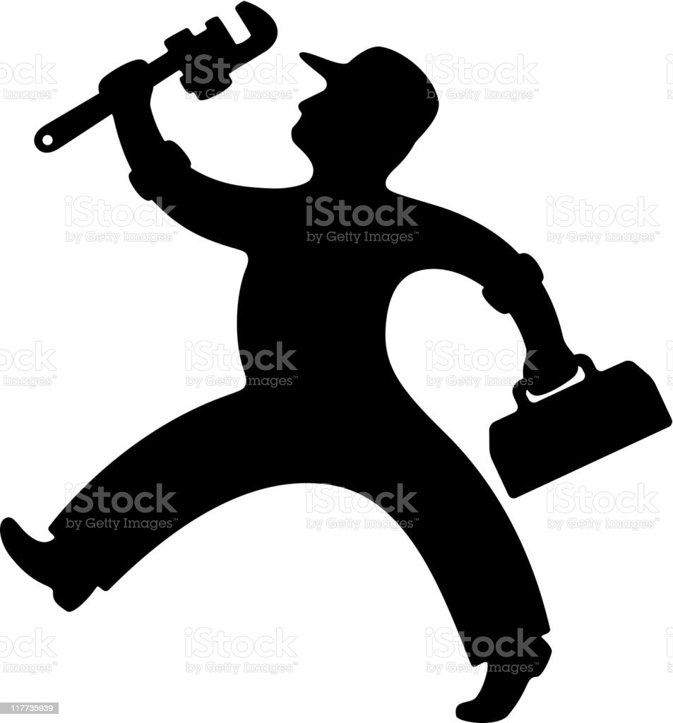 Plumber with Pipe Wrench vector art illustration