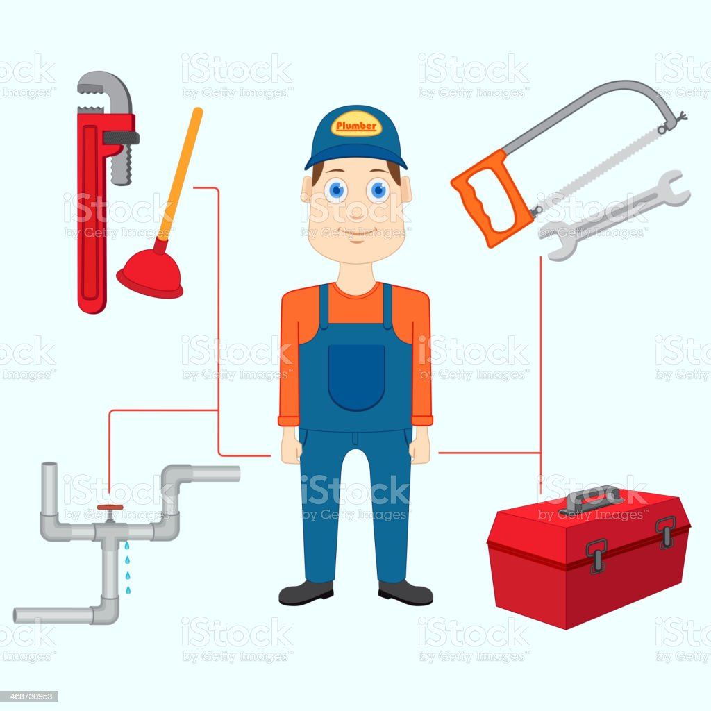 Plumber with Tool royalty-free stock vector art