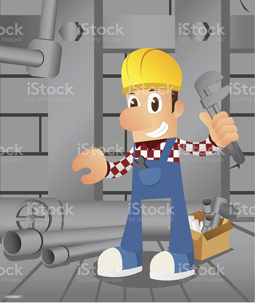 Plumber with Wrench royalty-free stock vector art