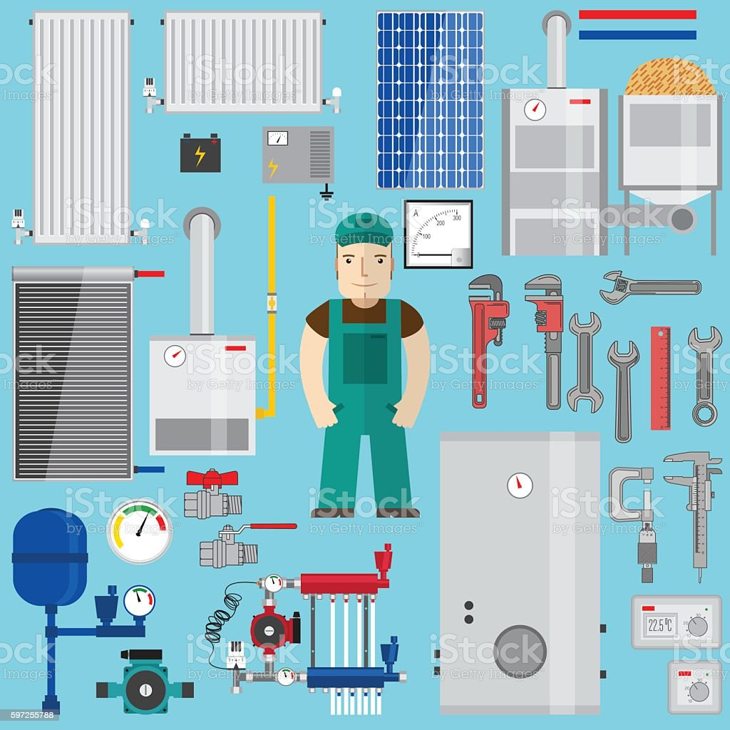Plumbing and heating elements. Heating equipment. vector art illustration
