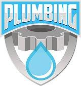 Plumbing badge template vector