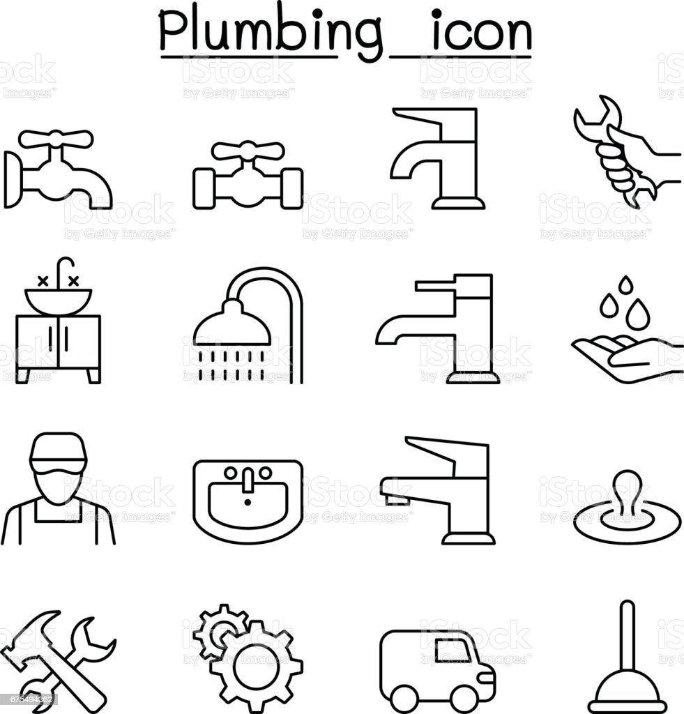Plumbing icon set in thin line style vector art illustration