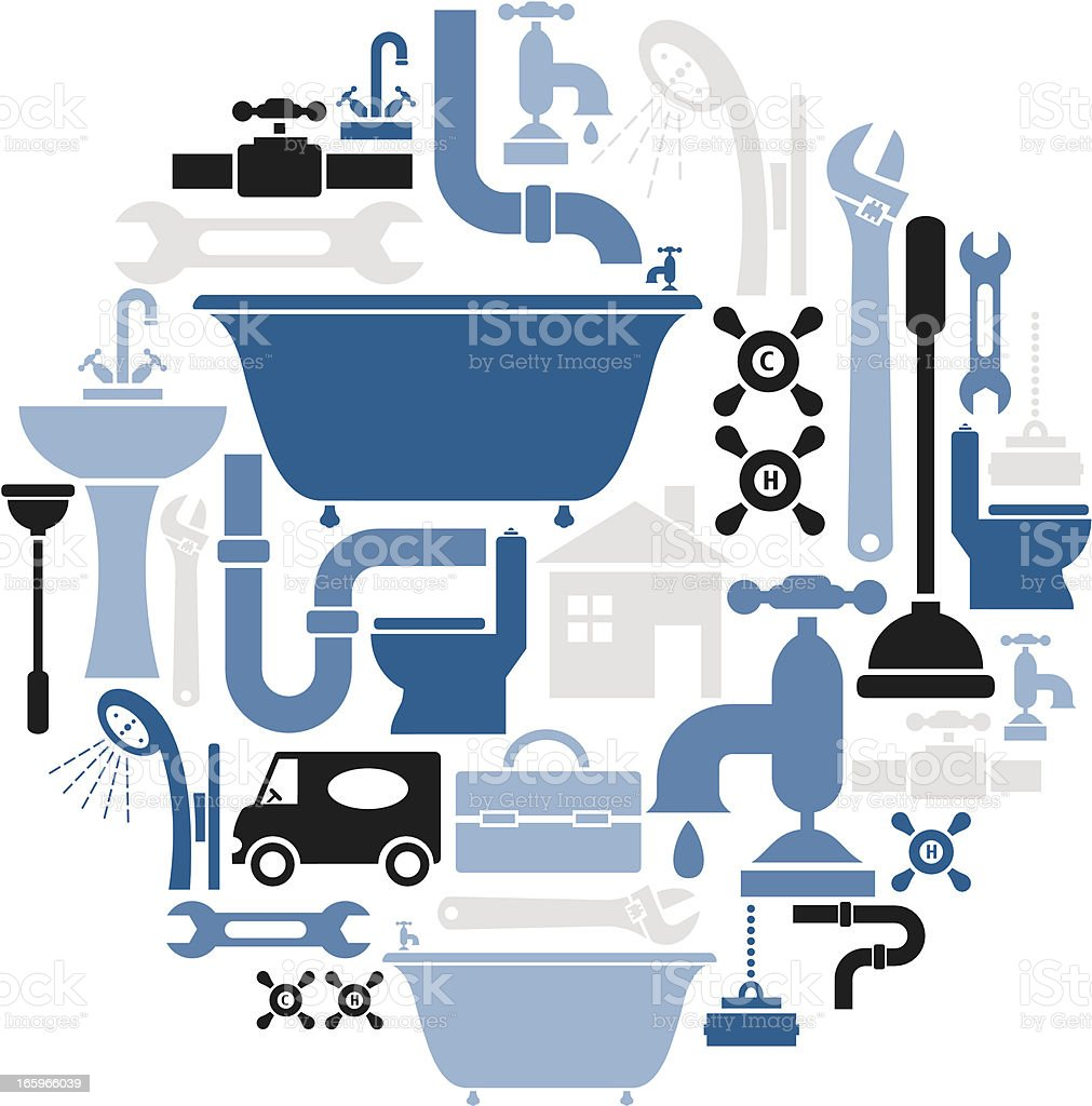 Plumbing Icon Set royalty-free stock vector art