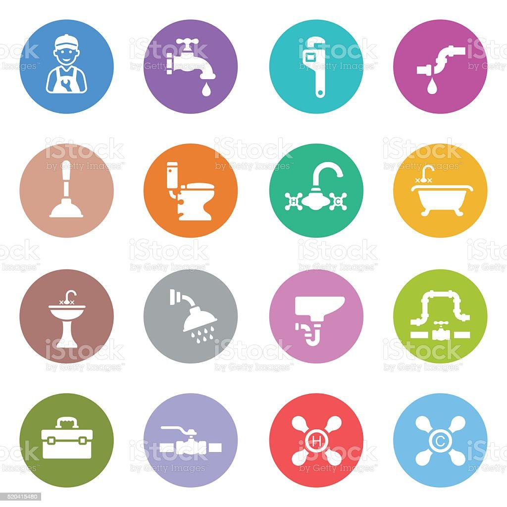 Plumbing Icon Set vector art illustration