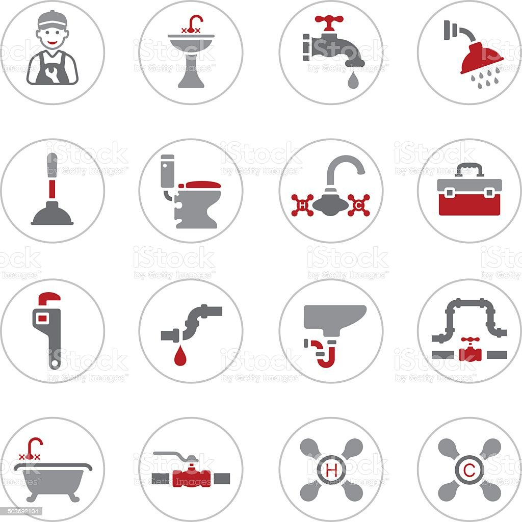 Plumbing Icons vector art illustration