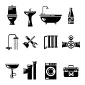 Plumbing icons. Water pipe and shower, toilet sink vector symbols